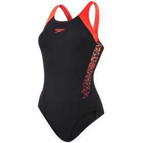 speedo Boom Splice Muscleback Uimapuku Naiset, black/lava red
